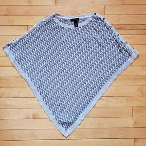 White House Black Market Silver Poncho Sweater Top
